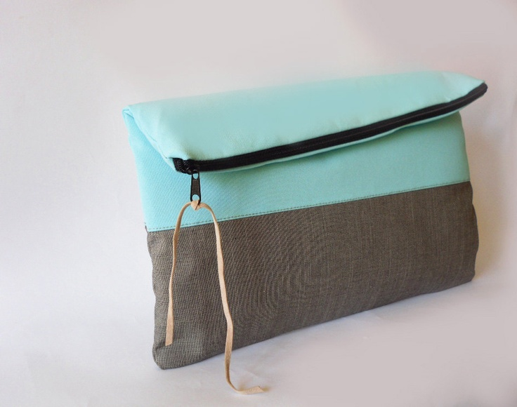 Clutch purse, Fabric, Light Turquoise/ Aqua color and grey, color block, Fold over. $27.00, via Etsy.: Trav'Lin Lights, Grey Colors, Fabrics Lights, 2700, Colors Block, Purses Fabrics, Aqua Colors, Clutches Purses, Lights Turquoise
