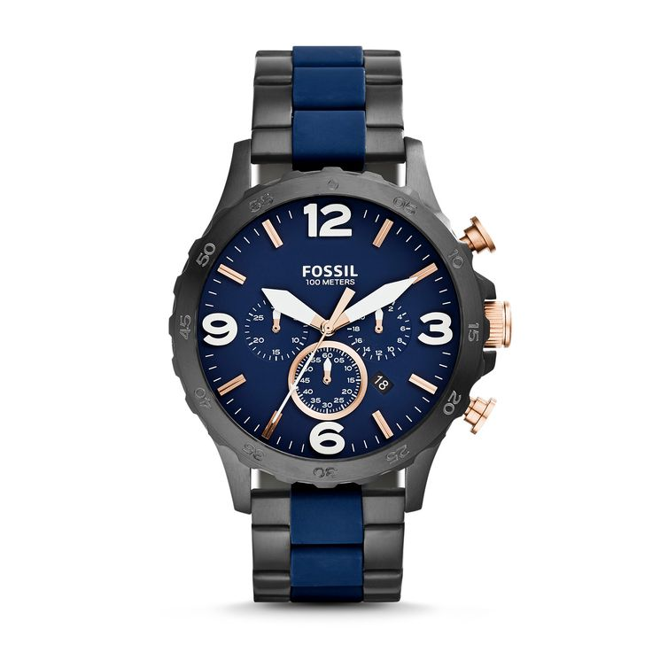Nate Chronograph Black & Blue Stainless Steel Watch - Fossil