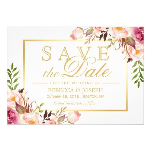 Typography Save the Date Wedding Invitation Save the Date Elegant Chic Pink Floral Gold Frame Card