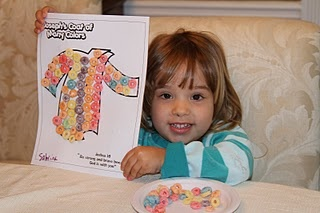 Joseph's multi-colored coat made out of Fruit Loops