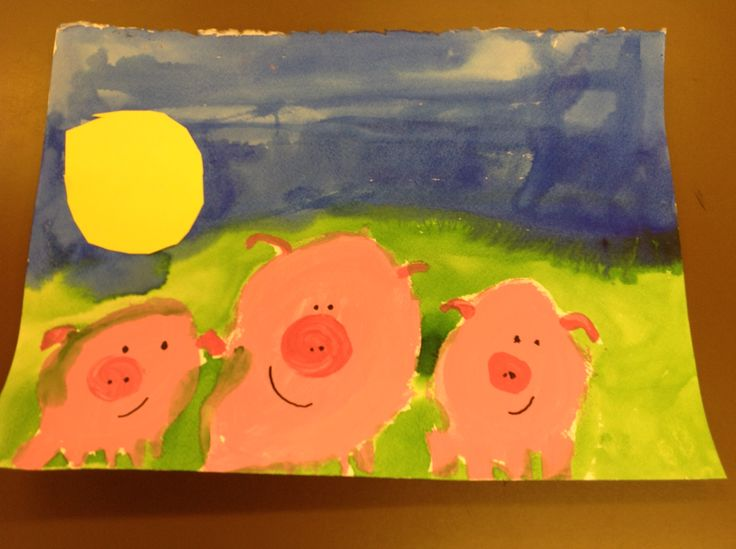 """Kindergarten! Discussed """"horizon lines"""" and """"landscapes."""" Mixed light and dark pink. Learned what a """"tint"""" is."""