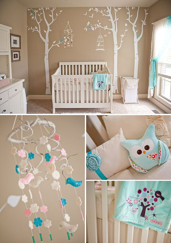 Soft, Serene Nursery with touches of Pink and Aqua