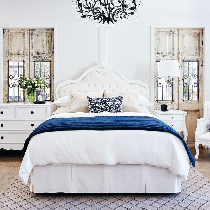 Baroque French Provincial Bed Head - White Stripe.  Available in Natural, Cream, Black or Black & White.  Beautiful for French Country and White Painted Bedrooms