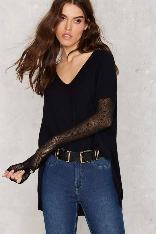 Glamorous Piper Asymmetric Sweater - Black