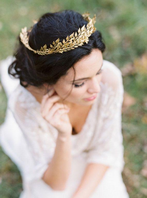 Edwardian leaf circlet Bridal circlet leaf tiaragold crown