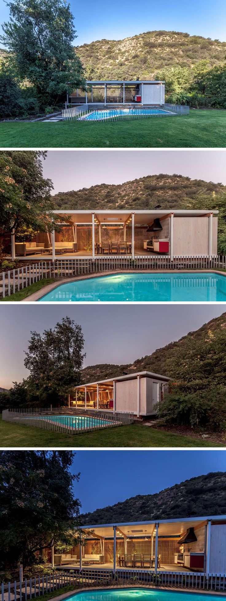 This modern pool house sits next to a swimming pool and includes a covered outdoor living room and dining area, as well as a BBQ, a kitchenette, a wine cellar and a bathroom. A wooden screen provides privacy without blocking the sunlight.