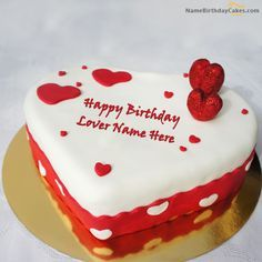 Write name on Ice Heart Birthday Cake For Lover - Happy Birthday Wishes