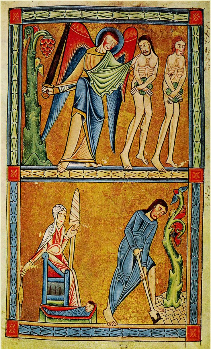 A page from the York Psalter (produced in the north of England c.1170 in a vigorous Romanesque style), showing Adam and Eve being expelled from the Garden of Eden; and, below, Adam digging (delving) and Eve spinning.