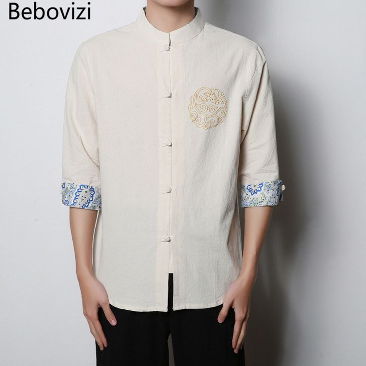 2017 Chinese Wind Linen Shirts Men Clothing Stand Collar Buckle Shirt Flax Seven-point Sleeve Embroidered Male Retro Shirt #Affiliate