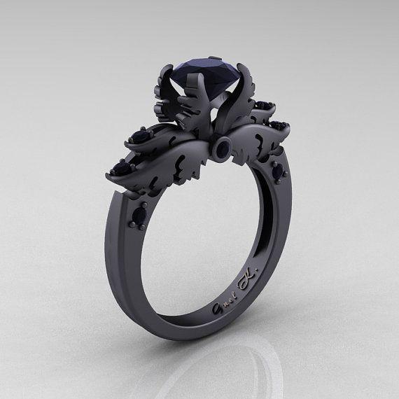 Classic Angel 14K Matte Black Gold 1.0 Ct Black Diamond Solitaire Engagement  Ring R482-14KMBGBD
