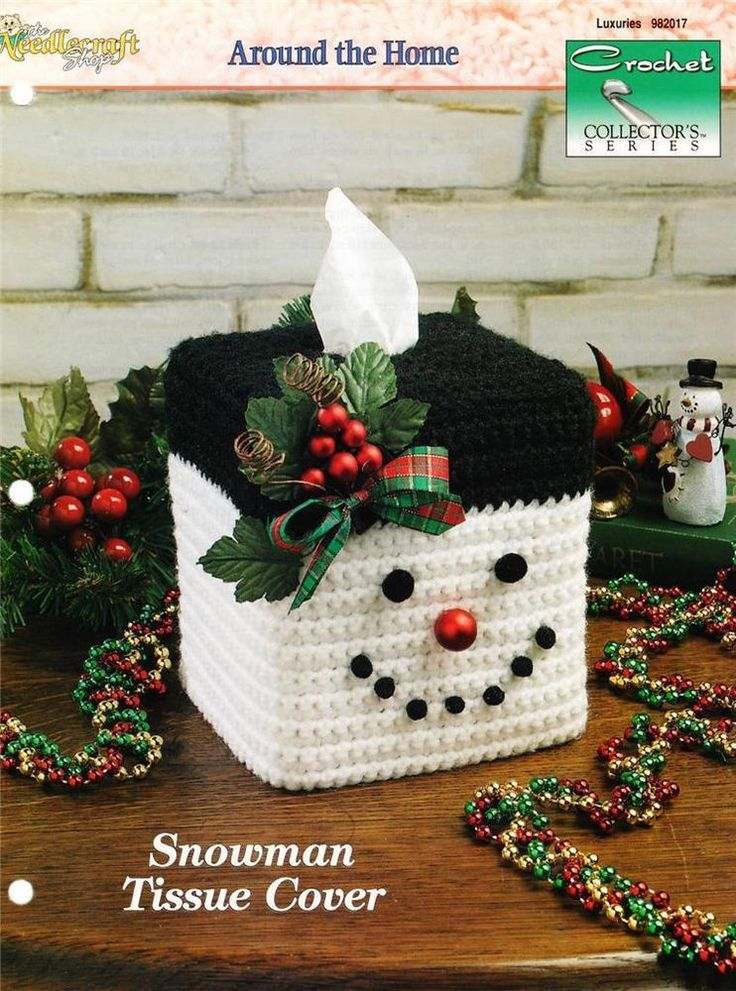 Snowman Tissue Cover Crochet Needlecraft Pattern