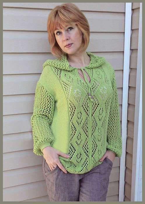 Озорные петельки: Ажурный пуловер с капюшоном.