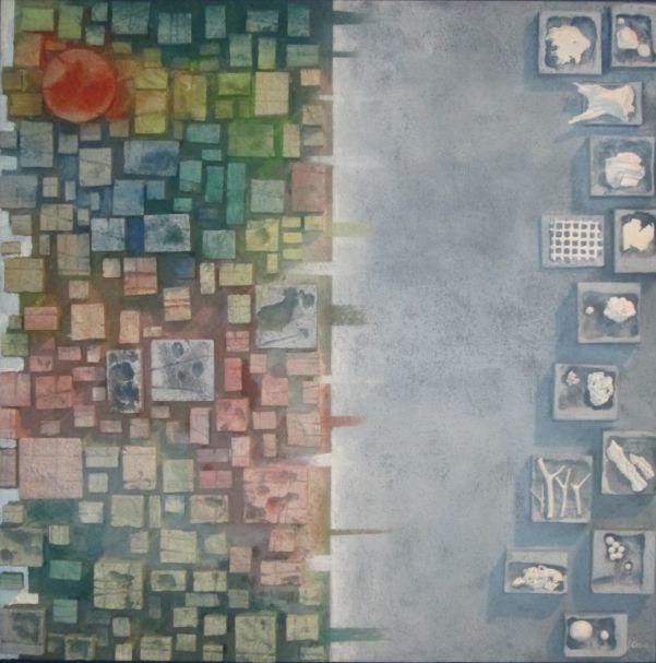 """""""Scatole dei ricordi""""  cm 100 x 100 Tecnica: polimaterica"""