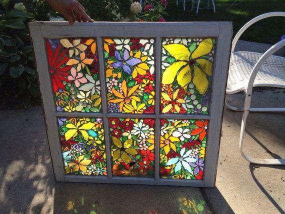 Beautiful Flower Glass Mosiac by DianaJoBaker on Etsy, $300.00