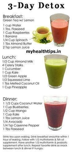 3 day Detox diet ~  must like & share (I'd probably only drink one of these a day but all sound yummy)