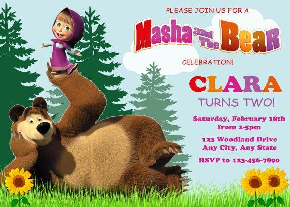 Masha and the Bear Invitation Masha and the Bear Birthday