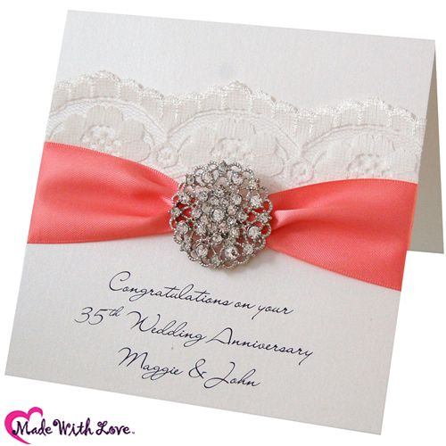 Gift Ideas For Parents 35th Wedding Anniversary : Coral Wedding Anniversary. 35th Wedding Anniversary Card