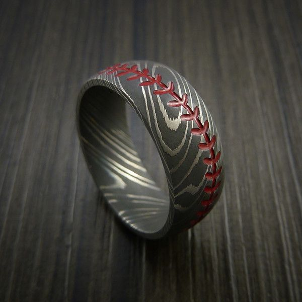 Damascus Steel Baseball Ring with Acid Wash Finish - Revolution Jewelry  - 1