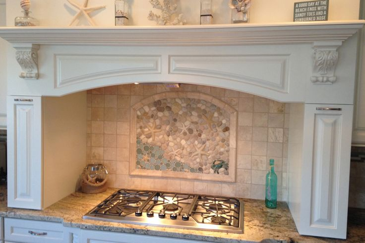 Arched Top Custom Mural With Starfish Shells And A