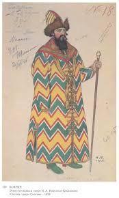 """ivan bilibin costume designs  Costume design for the Opera """"Fairytale of the Tsar Saltan"""" by Nikolai Rimsky-Korsakov"""
