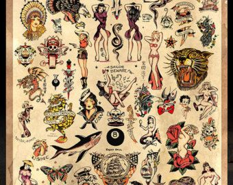 Sailor Jerry Tattoo Flash 3  Poster van MarkPaintAndPrints op Etsy