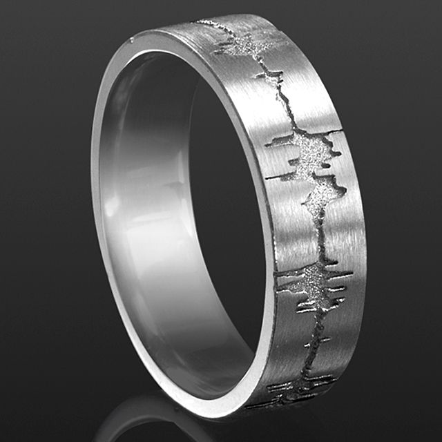 Soundwave Band Ring    Sterling silver tone on tone Custom Soundwave Recording on Band Ring      from $740