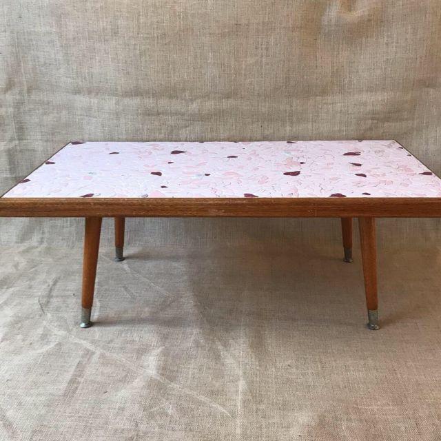 Vintage Mid Century Mosaic Coffee Table Pink Tile Top