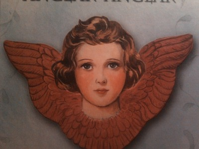 Decoration inspiration for the cot. This guardian angel is what we're having painted on it! (Different colour for the wings, though, see the one with blue/white wings.)