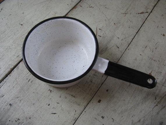 graniteware pan rustic saucepan black and by rivertownvintage, $9.95