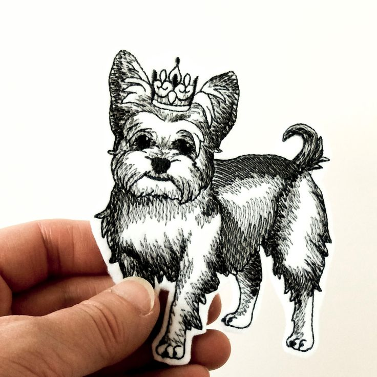 Iron on patch, yorkie patch, yorkshire terrier iron on patch, patch for jeans, patch for backpack, grey tones on white, dog patch. by JaneAtNumber13 on Etsy