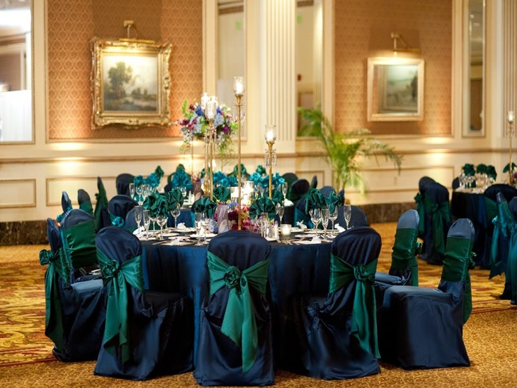 Peacock Green And Navy Blue Wedding Reception Linens And Chair Covers
