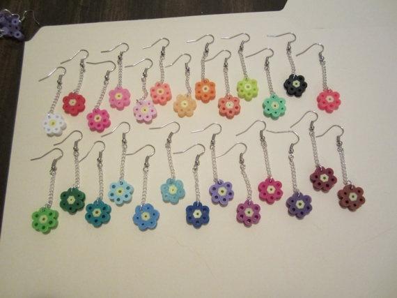 Flower shaped multi-colored handmade perler bead earrings. $5.00, via Etsy.