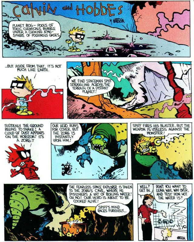 Calvin and Hobbes, SPIFF - The fearless space explorer is taken to ...