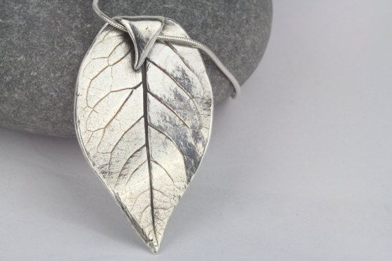 Rose leaf necklace silver pendantelegant by AmySquaredJewellery