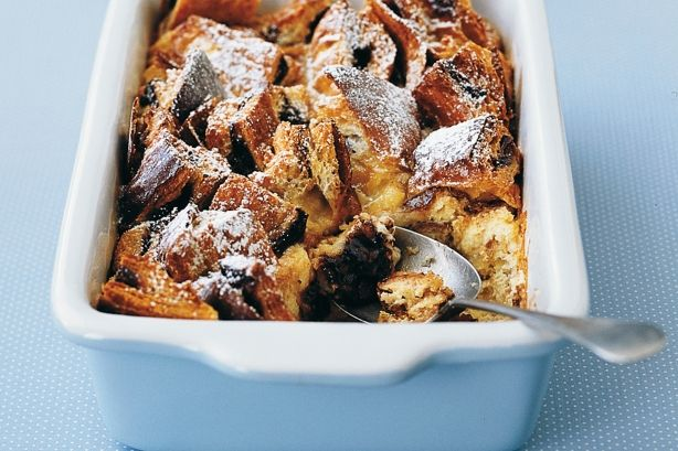Traditional bread and butter pudding is given a luscious French make-over by using chocolate croissants.