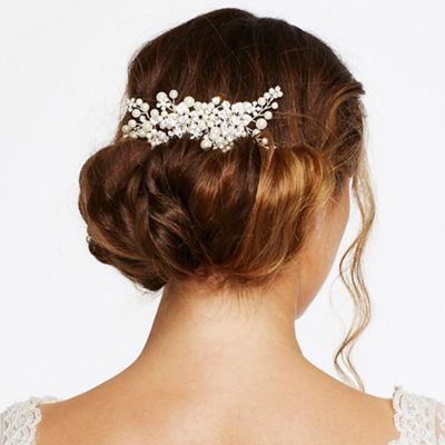 Jon Richard Crystal flower and pearl hand wrapped hair comb- | Debenhams