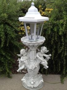 This solar angel light features two little enchanting angels poised around the decorative pedestal with a solar lantern on top to keep a watch over your garden at night. http://www.mysolarshop.com/cherubs-solar-angel-light-statue-asangel012