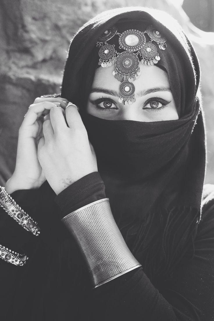 Arabic headpiece old silver bracelets black hijab niqab