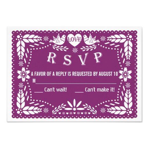 Papel picado love birds purple wedding RSVP reply Card