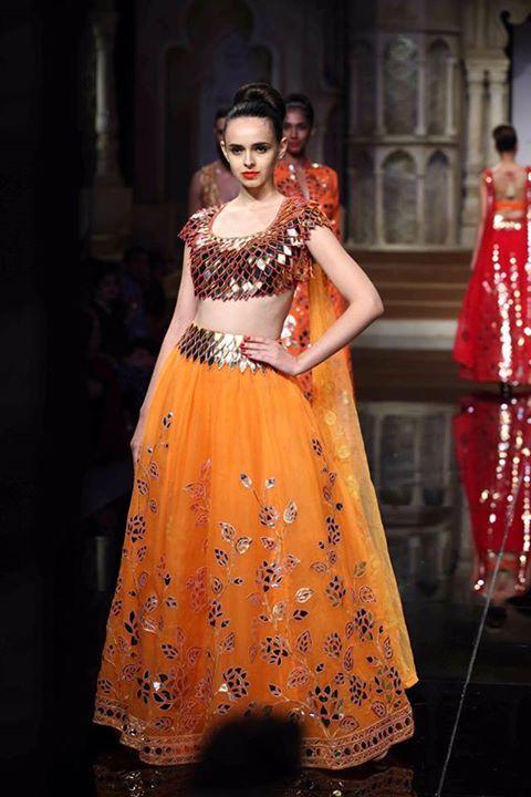 Beautiful Mod #Lehenga from @janikhosla http://www.AbuSandeep.com/ India Bridal Week 2015 collection