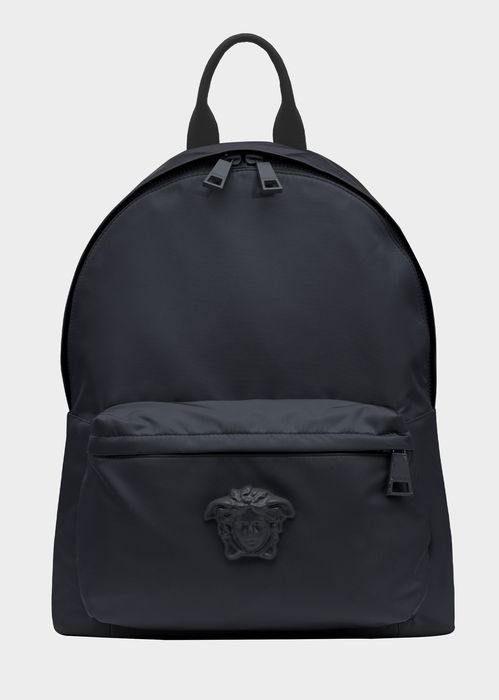 Versace Medusa Head Nylon Backpack for Men | Official Website. Large size, top handle nylon backpack, with zipped outer pocket and Medusa Head plaque.