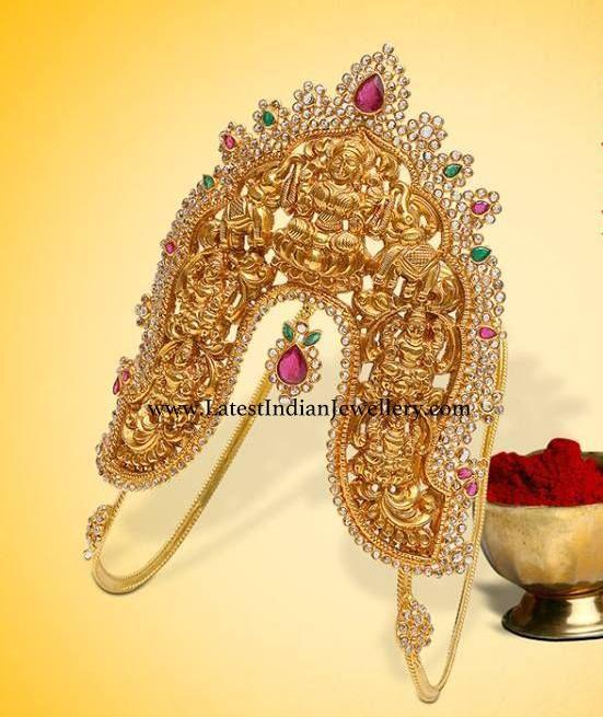 Heavy designer gold vanki in Pancha Lakshmi design encrusted with uncut chakri diamonds, rubies and emeralds for Indian Brides.   ...