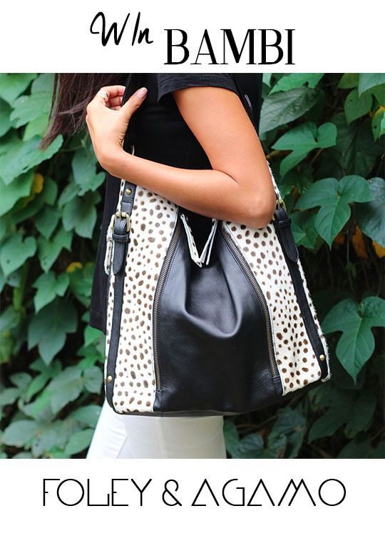WIn a Foley & Agamo BAMBI Tote  Re pin & follow us to win. xxx For more ways to enter visit http://www.foleyandagamo.com.au/pages/win #win #foleyandagamo #handbag #leather #black #white #fashion #Style #love