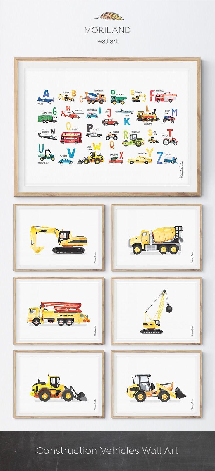 Excavator Print Digger Art Construction Print Toddler Room Etsy Toddler Boy Room Decor Boy Wall Art Toddler Room Decor