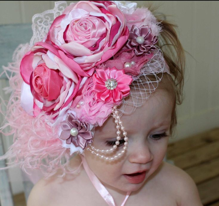 Elegant Vintage Pink and Mauve Couture-Baby Headband-Photo