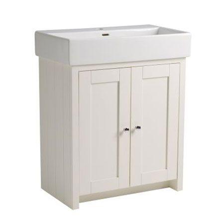 Tavistock Lansdown 2-Door Freestanding Vanity Unit & Basin 650mm Wide Linen White 1 Tap Hole