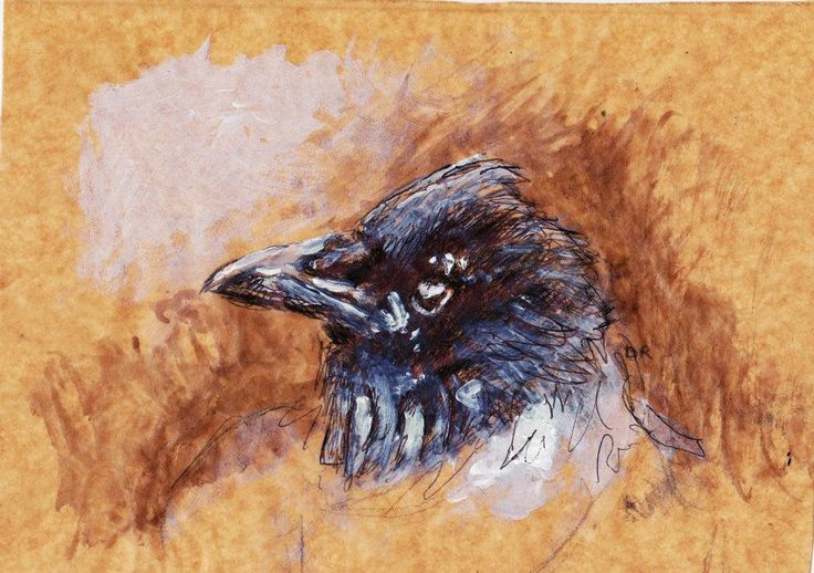 crow painting, acrylic, biro and ink