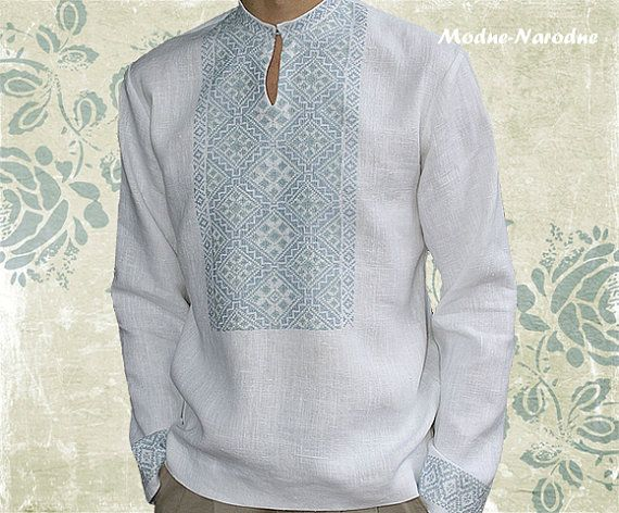 Mens casual fashion white linen shirt Mens linen long sleeve shirts Unique shirt embroidery Designer mens clothing Unique menswear Eco shirt