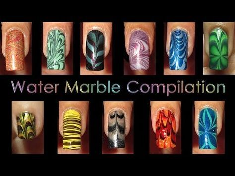 Nail Art Compilation | Water Marble March 2012 - YouTube