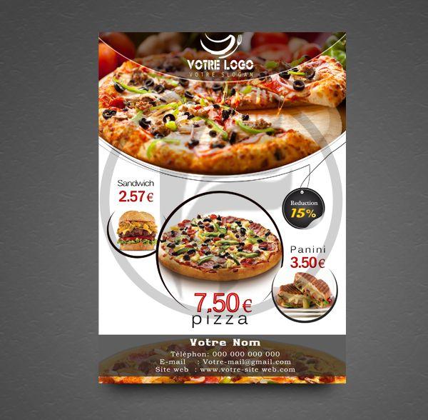 Flyer publicitaire format A5 con�u pour Pizzeria � un petit prix chez kaipresta